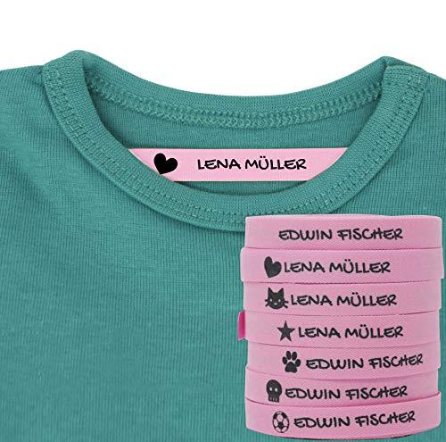 Haberdashery Online 100 Personalisierte Bügeletiketten zum Markieren Ihrer Kleidung mit Symbolen. Weiß. Schonend mit der Haut Ihrer Kinder, für Schuluniform für Kinder. (Rosa)
