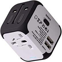 Travel Adapter Uppel Dual USB All-in-one Worldwide Travel Chargers Adapters for US EU UK AU About 152 Countries Universal Power Plug Adapter Charger with Dual USB and Safety Fuse (White)