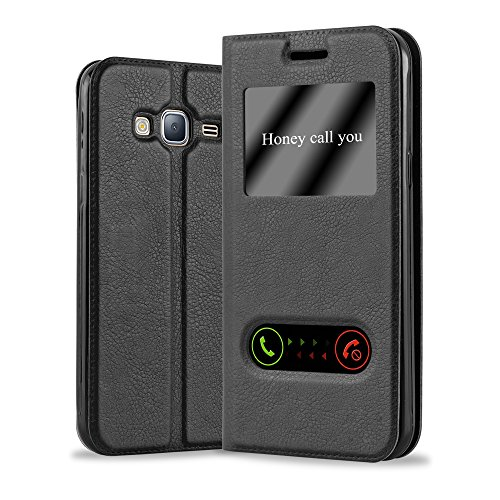 Cadorabo Custodia Libro per Samsung Galaxy J3 / J3 DUOS 2016 in Nero COMETA - con Funzione Stand e Chiusura Magnetica - Portafoglio Cover Case Wallet Book Etui Protezione