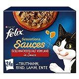 FELIX Sensations Saucen Katzenfutter nass, Sorten-Mix, 4er Pack (4 x 24 Beutel à 85g)