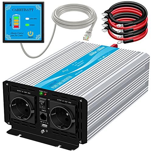 CARRYBATT 2500W/5000W Reiner Sinus Spannungswandler 12V auf 230V kfz Sinus Wechselrichter mit 1 USB Ports,Fernsteuerung,2 steckdoses,Kabel-Inverter Pure Sine Wave