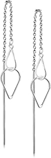 925 Sterling Silver Open Triangle or Sideways Square Threader Long Dangle Modern Geometric Earrings
