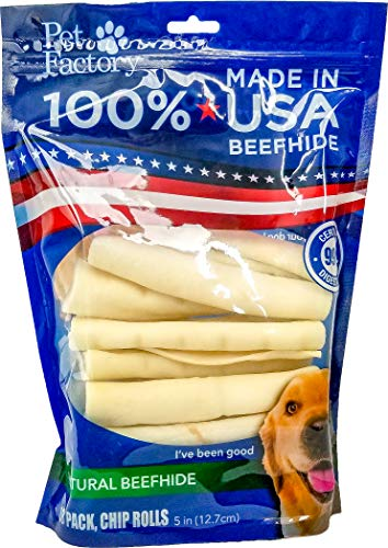Pet Factory U.S.A. Beef Hide Chip Rolls Chews for Dogs (18 Pack), Small/5'