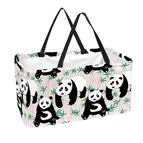 Bolsa de comestibles reutilizable grande, resistente bolsa de compras con parte inferior reforzada y asa (bonito estampado de bambú de Panda)