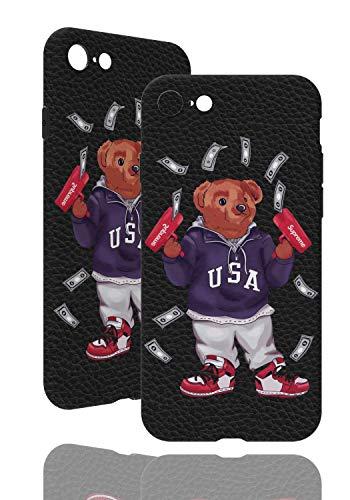 SUP Bären Hülle [ Passend für Apple iPhone 7/8, Schwarz ] Ted Bear Case X Supreme Cash Gun Ultra dünn - Geldpistole (TPU Hülle)