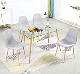 Dining Table Set for 4 Modern 5 Pieces Dining Room Set - Rectangle Tempered...