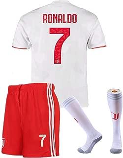 Feeke #7 Ronaldo Shirt Juventus Away Soccer Tshirt for Kids/Youth with Socks & Shorts White