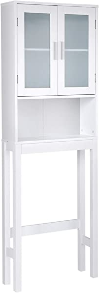 AyaMastro White MDF Wood Over The Toilet Storage Cabinet Bathroom Organizer Rack W 2 Door Cabinat 1 Open Shelve