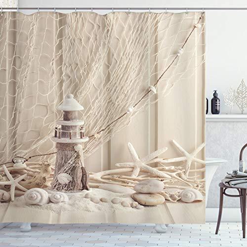 ABAKUHAUS Duschvorhang, Holz Leuchtturm Fischernetz See Stern und Muscheln Künstlerischen 3Dimensionalen Bild Druck, Blickdicht aus Stoff inkl. 12 Ringe für Das Badezimmer Waschbar, 175 X 200 cm