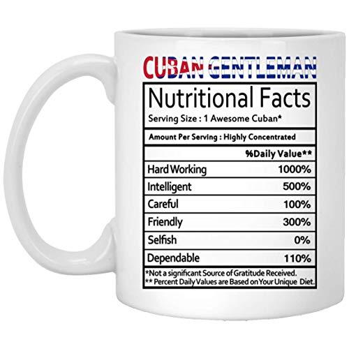 Not Applicable Regalos cubanos Caballero Cubano Etiqueta de Datos nutricionales Regalo de mordaza Taza de café Taza de té Blanco 11 Oz - Cumpleaños Genial Hombres Mujeres