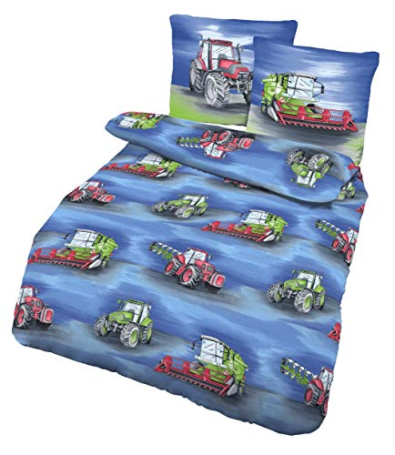 Traktor & Mähdrescher Kinder Jungen Bettwäsche · Bauernhof · 2 teilig · Kissenbezug 80x80 + Bettbezug 135x200 cm - 100% Baumwolle in Renforce