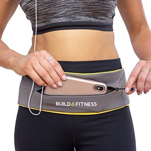 Build & Fitness Laufgürtel YKK Reißverschlusstasche, verstellbare Taille mit Schlüssel-Clip – passend für Fuel Gel, iPhone 8plus,XS Max,11 pro, Samsung's