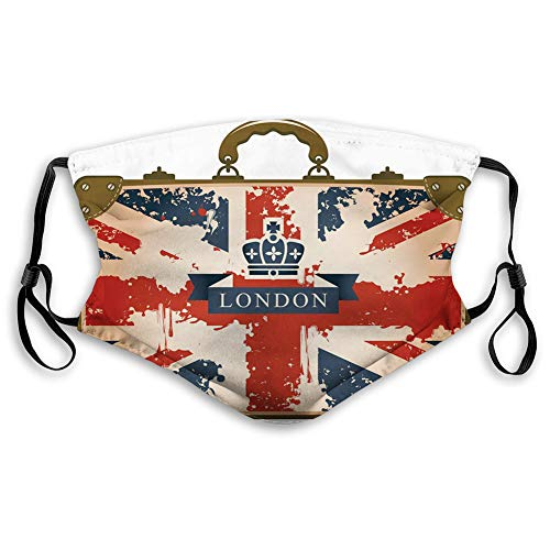 Adult Mask Vintage Travel Suitcase with British Flag London Ribbon and Crown Image Polyester Face Masks Washable Cloth Masks for Men Women Cycling Camping Travel