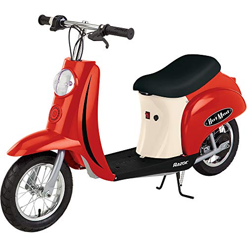 Razor Pocket Mod Miniature Euro 24V Electric Kids Ride On Retro Scooter, Speeds up to 15 MPH with 10 Mile Range, Red