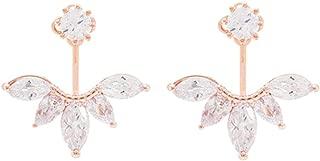 925 Sterling Silver Cubic Zirconia Earrings Leaf Feather Ear Jacket Front Back Ear Cuffs Stud Earring
