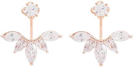 megko 925 Sterling Silver Cubic Zirconia Earrings Leaf Feather Ear Jacket Front Back Ear Cuffs Stud Earring