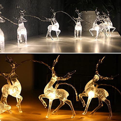 Cadena de luces LED de jardín de 1,5 m 3 m LED cadena de luz funciona con pilas Ciervos Decoración de Navidad Luz 10LED 20LED Alce de cristal Luces de hadas Navidad guirnalda de boda