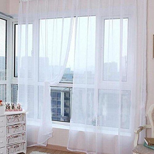 PU Ran Lot de 2 rideaux de porte en tulle uni, Tissu, blanc, Taille M