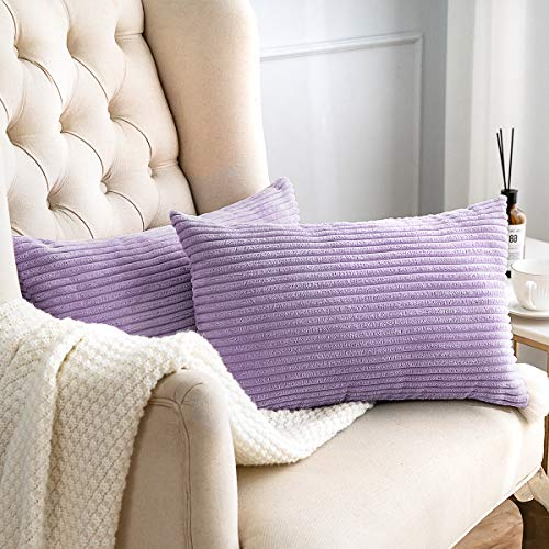 MUDILY Pack of 2 Oblong Pillow Cases Decorative Striped Velvet Corduroy Rectangle Cushion Cover Oblong Pillow Cover for Couch Car, Lavender 12 x 20 inch 30 x 50 cm