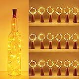 (18 pezzi) Luci per Bottiglia, kolpop Tappi LED a Batteria per Bottiglie, Filo di Rame Led Decorative Stringa Luci da Interni e Esterni per Festa, Giardino, Natalizie, Matrimonio (Bianco Caldo)
