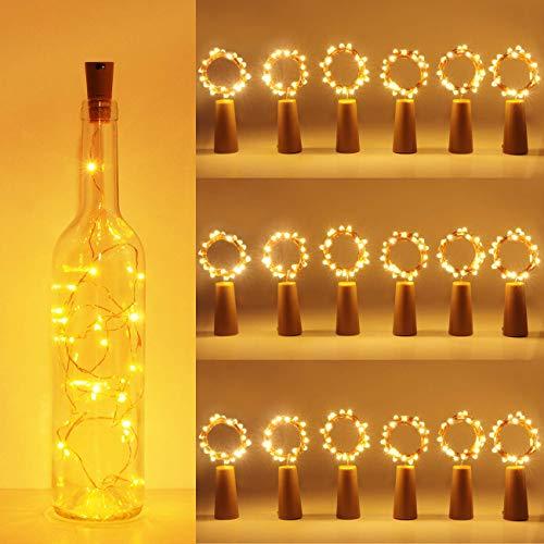 (18 Stück) Flaschenlicht Batterie, kolpop 2m 20 LED Glas Korken Licht Kupferdraht Lichterkette für flasche für Party, Garten, Weihnachten, Halloween, Hochzeit, außen/innen Beleuchtung Deko (Warmweiß)