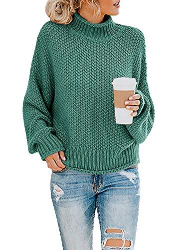 Yidarton Pullover Damen Elegant Winter Rollkragenpullover Strickpullover Grobstrickpullover Casual Lose Pulli Langarm Oberteile (3261-Dunkelgrün, Small)
