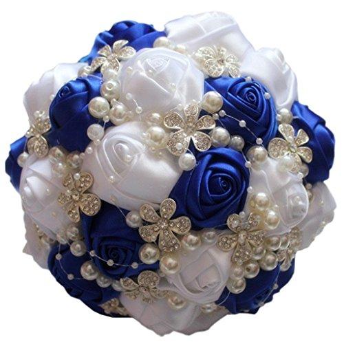 Fouriding Bouquet da Nozze Sposa Damigella d'Onore Nastro Rosa Diamante Perlato Fiore Artificiale Decorazione (Royal Blu-Bianco, 18cm)