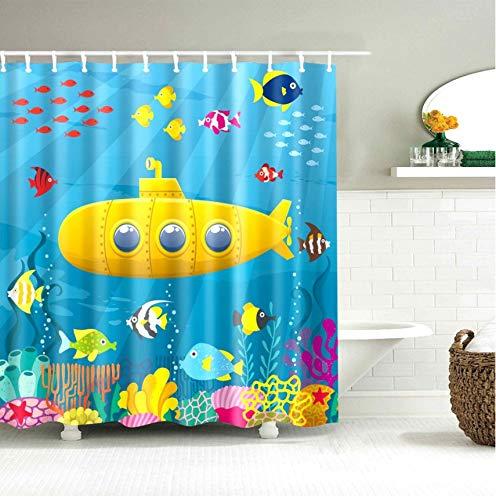 qhtqtt Duschvorhang U-Boot Fisch Ente Cartoon Tier Weltkarte Stoff Bad Kinder 180X200Cm A