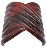Parcelona French Interwined Brown Shell Celluloid Wide Tube Long Adjustable Pony Holder Women and Girls Hair Clip Barrette