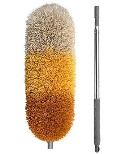 BOOMJOY Microfibra Telescoping Duster 254 cm Estensibile, Copertura Antigraffio, Asta in Acciaio Inossidabile, Testa Pieghevole Staccabile, Lavabile, Arancione
