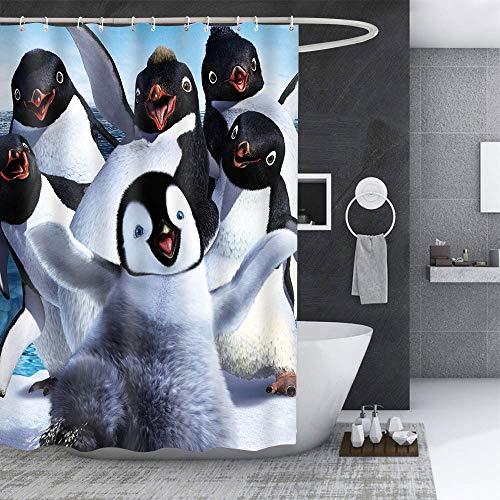EARVO Duschvorhang mit Pinguine & lächelnden Kindergesichtern, Schneefeld, für Teenager, Tween, Badezimmer-Dekoration, Zubehör mit Haken, 152,4 x 182,9 cm, Polyester-Stoff LHEA894-60