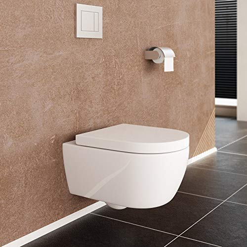 NEG Hänge-WC Uno11 (Tiefspüler) Toilette mit geschlossenem Unterspülrand, Duroplast Soft-Close-Deckel und Nano-Beschichtung - 7
