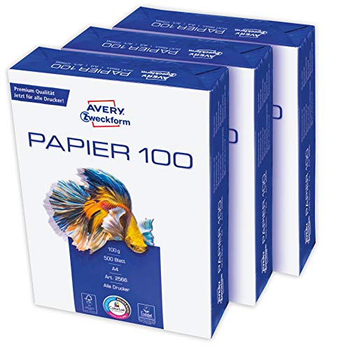 Avery Zweckform 2566 Drucker-/Kopierpapier (1.500 Blatt, 100 g/m², DIN A4 Papier, hochweiß, für alle Drucker) 1 Box mit 3 Pack