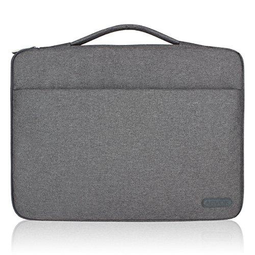 Arvok Stoßfestes Laptop Sleeve Hülle Tasche Aktentasche Wasserfest für die meisten 15-15,6 Zoll Laptops, Notebooks, Ultrabooks & Netbooks mit Handgriff Henkel und Reißverschluss-Tasche, Grau