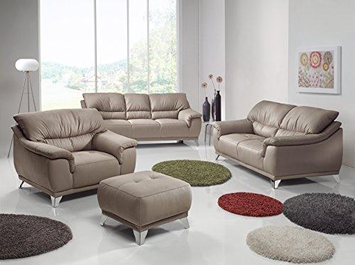 Cotta C083400 W103 Dunja, Garnitur, 3 und 2 Sitzer Sessel im Set, textilleder sandfarben
