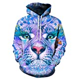 Sexyp-tops 2018 Fashion Unisex Realistic 3D Animal Print Pullover Hoodie Long Sleeve Sweatshirt Funny Lover Couple Top (Medium, Blue)