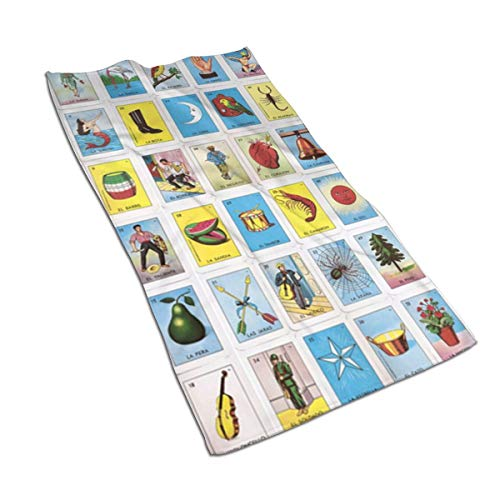 Colorful Mexican Loteria Cards Kitchen Towels ¨C 17.5X27.5in Microfiber Terry Dish Towels for Drying Dishes and Blotting Spills ¨CDish Towels for Your Kitchen Decor