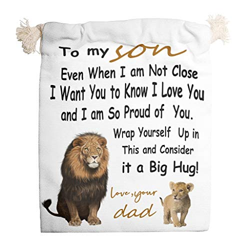6pcs Lion to My Son Drawstring Canvas Bag Dust-Proof Toy Bags use for fit New Year Birthday Gift Wrap - Son Birthday Gifts Candy Bag White 20 * 25cm