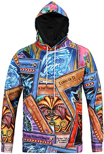 PIZOFF Mens Womens Casual Funny Card Print Pullover Hoodie Sport Coat Long Sleeve with Front Pocket Y1760-09-XL