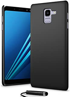 24/7 Oliver Samsung Galaxy A8 2018 hårt fodral ultratunt skal bakskydd + Samsung Galaxy A8 2018 skärmskydd + pekpenna (svart)