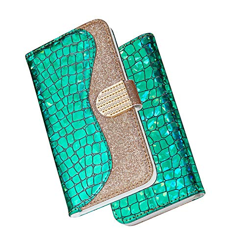 Huphant Funda Samung Galaxy S6 Cuero, Cover Compatible para Samung Galaxy S6 Carcasa Lentejuela Tipo Libro Piel con Tapa Case Y Cartera Billetera Case Plegable Cierre Magnético Soporte-Verde
