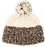Snugbug Dicke Women's Strick-Wollmütze, Pom Pom, Weiß/Braun