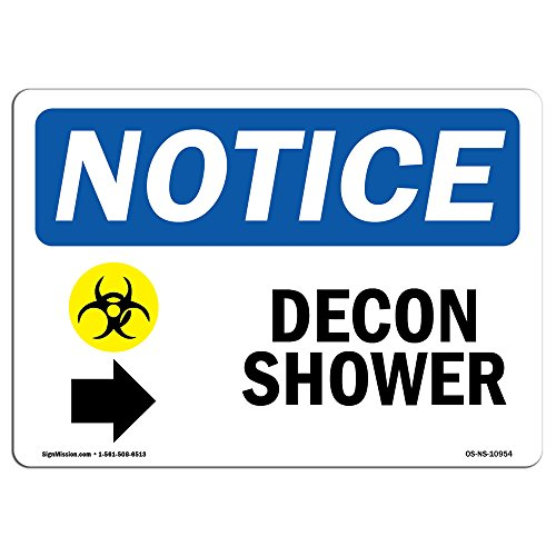 OSHA Notice Sign - Decon Shower [Right Arrow] | Rigid Plastic Sign | Protect Your Business, Construction Site, Warehouse & Shop Area | Made in The USA