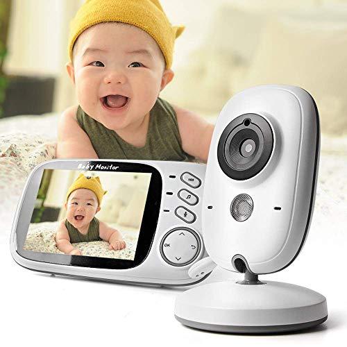 WanZhuanK Moniteur vidéo pour bébé, vidéo pour bébé sans Fil de 3,2 Pouces de Vision Nocturne vidéo Nanny Babysitter Baby Sleep Monitor LCD Display