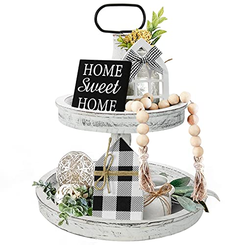 Farmhouse Decor, Two Tiered Tray White with 3 Wood Cute Signs, Wooden Rustic Modern Decorations Items for Home Kitchen Shelf Coffee Bar Table