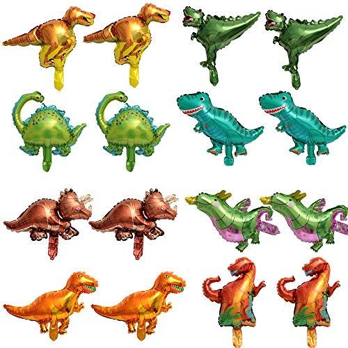 Palloncini in Stagnola di Dinosauro, 16 Pezzi Palloncini in Alluminio per Dinosauro, Decorazione a palloncino di dinosauro, per Compleanno,Festa di Laurea, Decorazioni per Feste in Stile Giungla