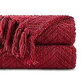 Battilo Kuscheldecke mit Quasten Weiche Gemütliche Tweed-Decke aus Strick 125 × 150 cm Leichte Dekorative Decke für das Sofa-Couchbett Warme im Zick-Zack Gewebte Wohndecke(Red)