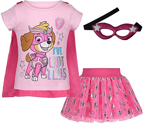 (922961PAT) Paw Patrol Toddler Girls Sky Cosplay Costume Skirt Set with Cape and Tiara in Pink, 2T