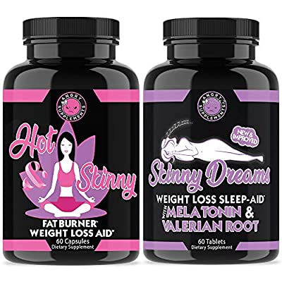 Angry Supplements Hot & Skinny Thermogenic + Skinny Dreams Sleep Aid Women's Weight Loss Combo (2-Pack Bundle), Day and Night-time Diet Pills, Fast Fat Burning, Non-GMO, Starter Kit (2-Pack, 120ct)