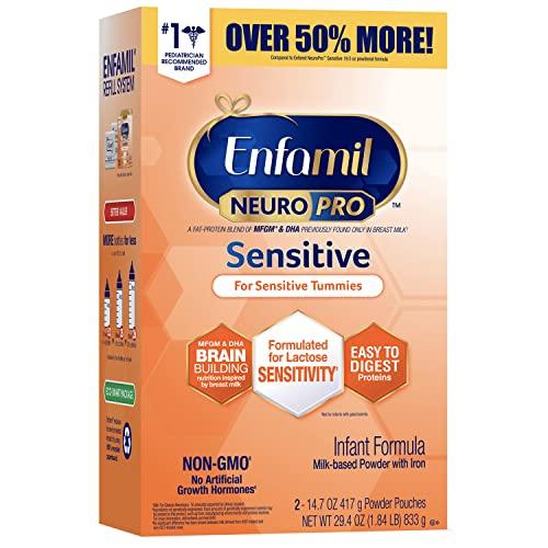 Enfamil NeuroPro Sensitive Baby Formula, Brain and Immune Support with DHA, Iron & Prebiotics, Lactose Sensitvity Infant Formula Inspired by Breast Milk, Non-GMO, Powder Refill Box 29.4 Oz